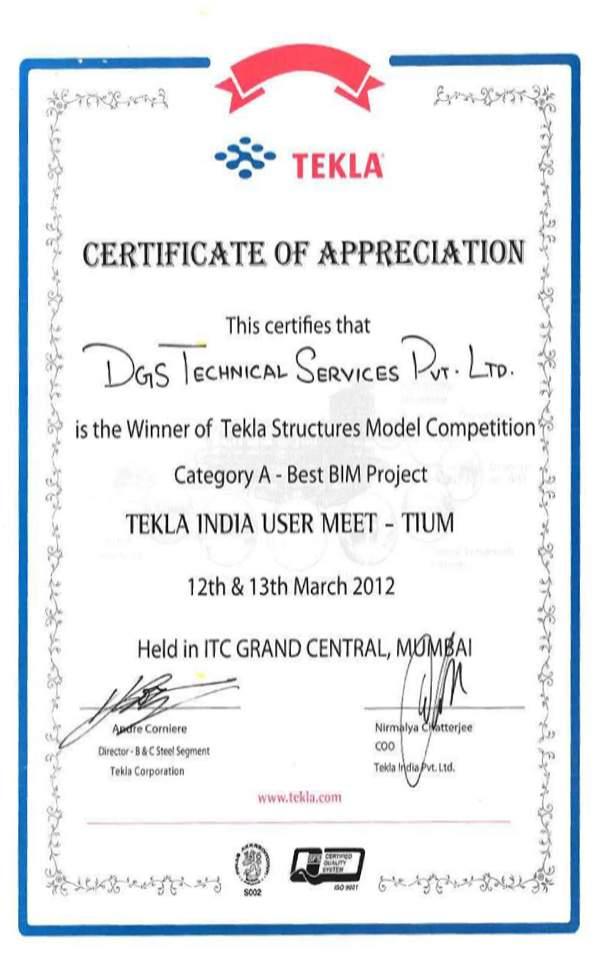 Tekla Appreciation Certificate